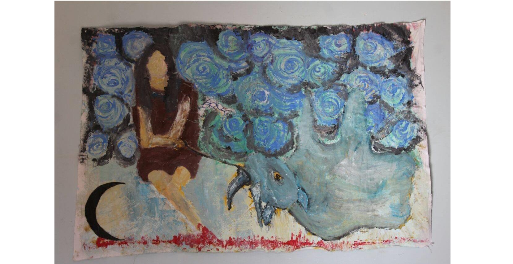 اللوحة للفنانة نسرين أبو بكر