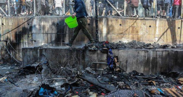 أعمال عنف في أحد أكبر مخيمات اللاجئين في اليونان