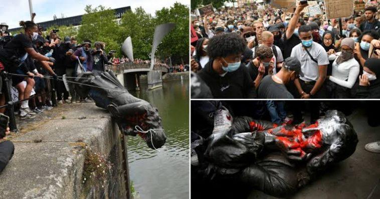بريطانيا: متظاهرون ضد العنصرية يحطمون تمثال ادوارد كولستون