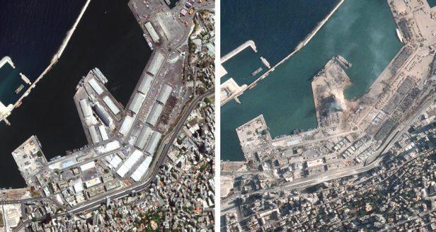انفجار بيروت: صور الأقمار الصناعية قبل وبعد الانفجار