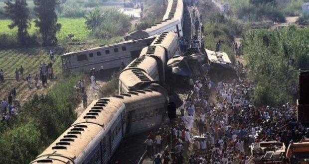 تصادم قطارين في مصر