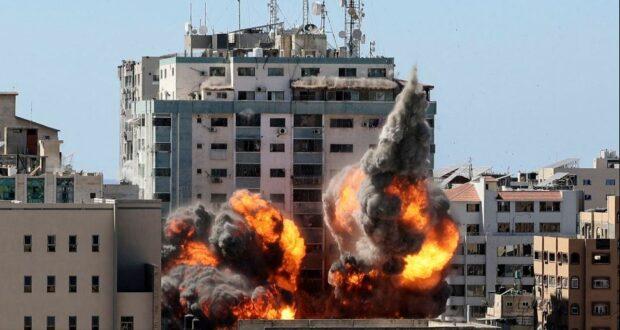 تدمير برج الجلاء في غزة